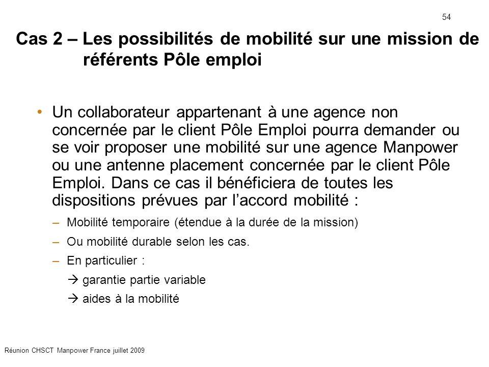 Cas 2 – Les possibilités de mobilité sur une mission de référents Pôle emploi