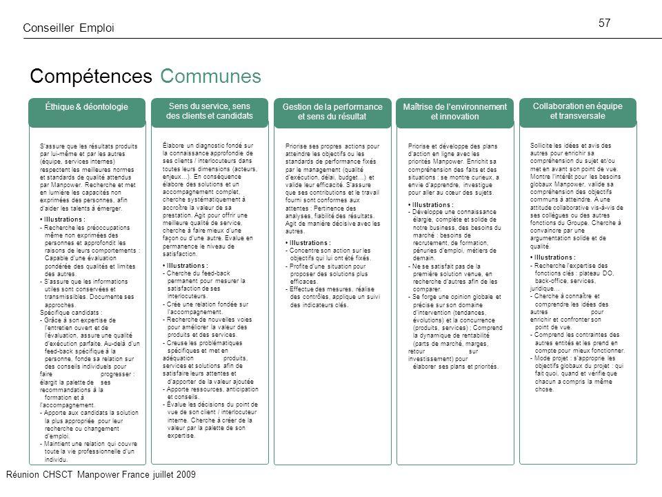 Compétences Communes Conseiller Emploi