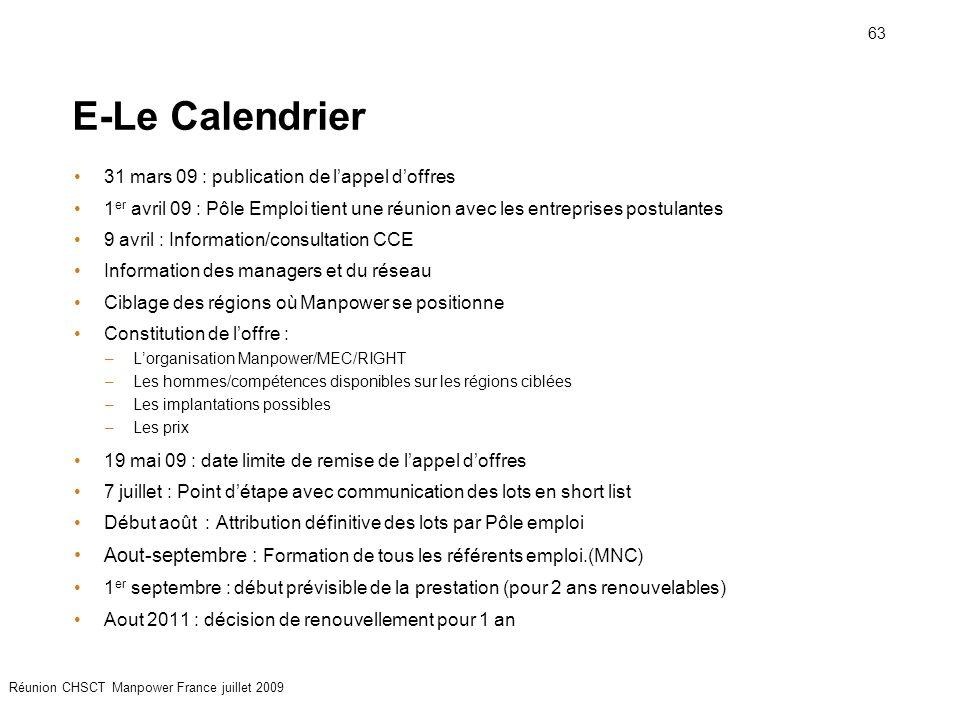 E-Le Calendrier 31 mars 09 : publication de l'appel d'offres. 1er avril 09 : Pôle Emploi tient une réunion avec les entreprises postulantes.