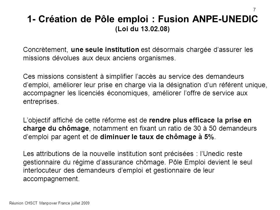 1- Création de Pôle emploi : Fusion ANPE-UNEDIC (Loi du 13.02.08)