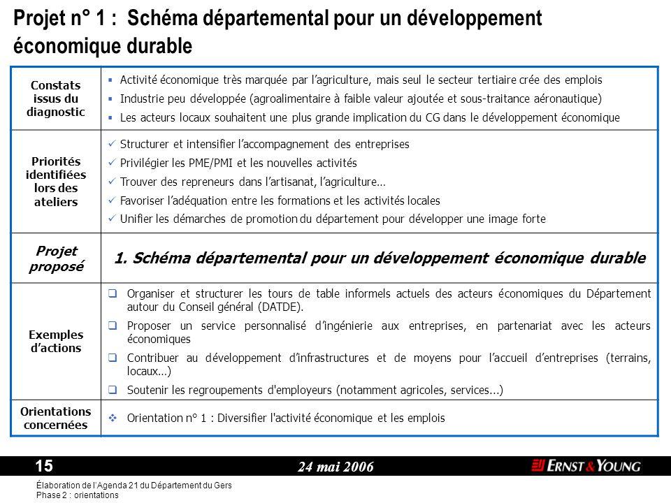 Projet n° 1 : Schéma départemental pour un développement économique durable