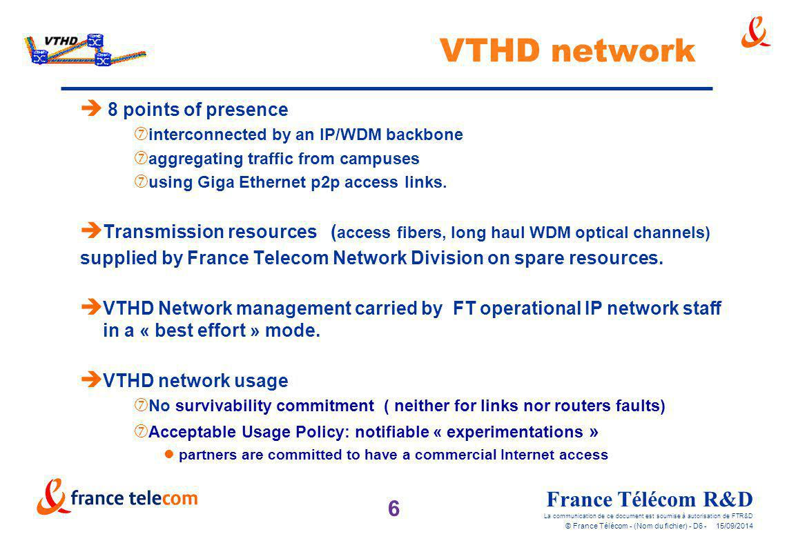 VTHD network 8 points of presence
