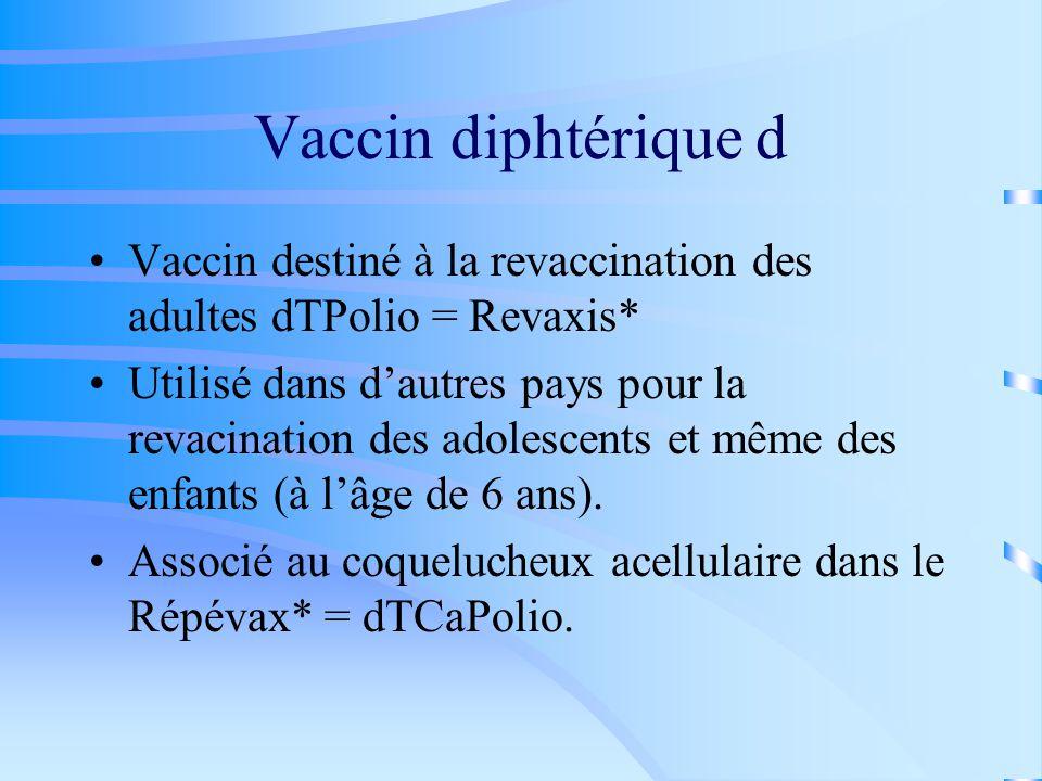 Vaccin diphtérique d Vaccin destiné à la revaccination des adultes dTPolio = Revaxis*