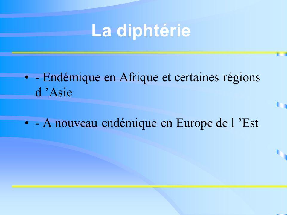 La diphtérie - Endémique en Afrique et certaines régions d 'Asie