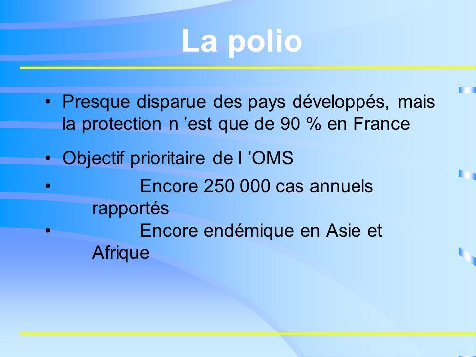 La polio Presque disparue des pays développés, mais la protection n 'est que de 90 % en France. Objectif prioritaire de l 'OMS.