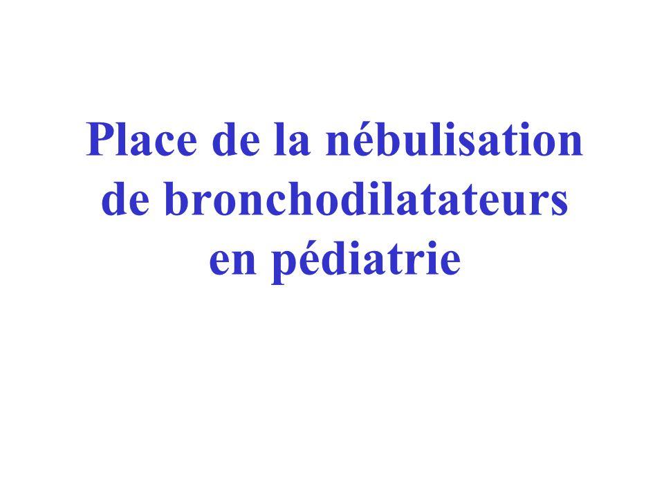 Place de la nébulisation de bronchodilatateurs en pédiatrie
