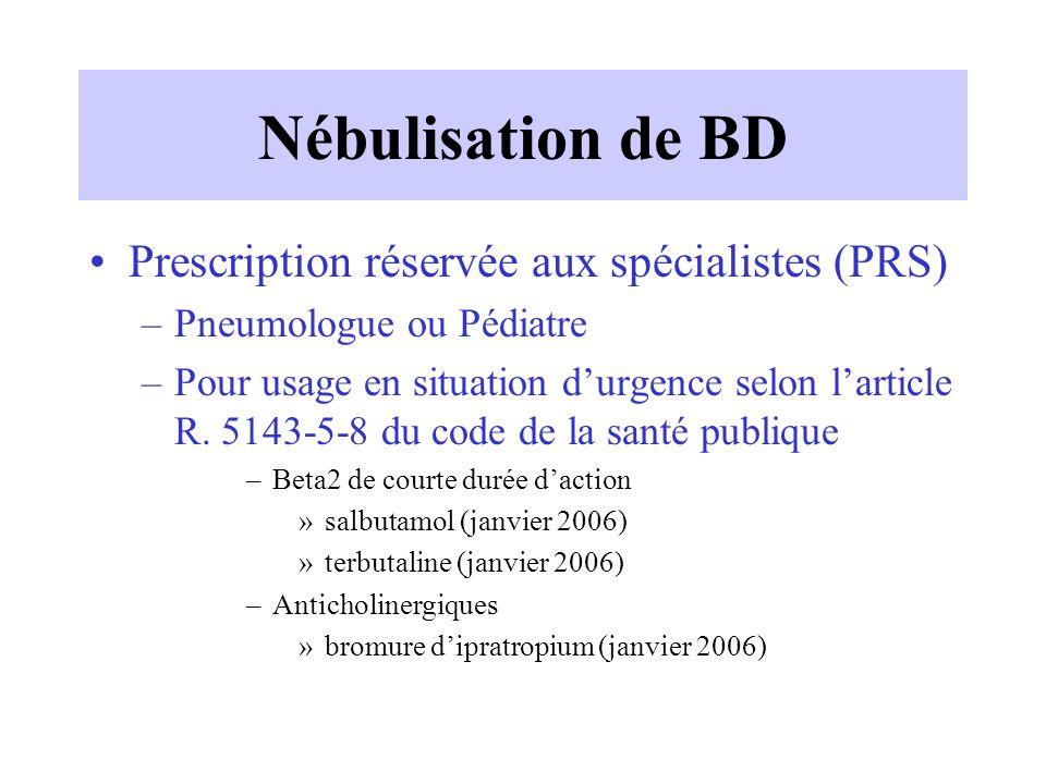 Nébulisation de BD Prescription réservée aux spécialistes (PRS)