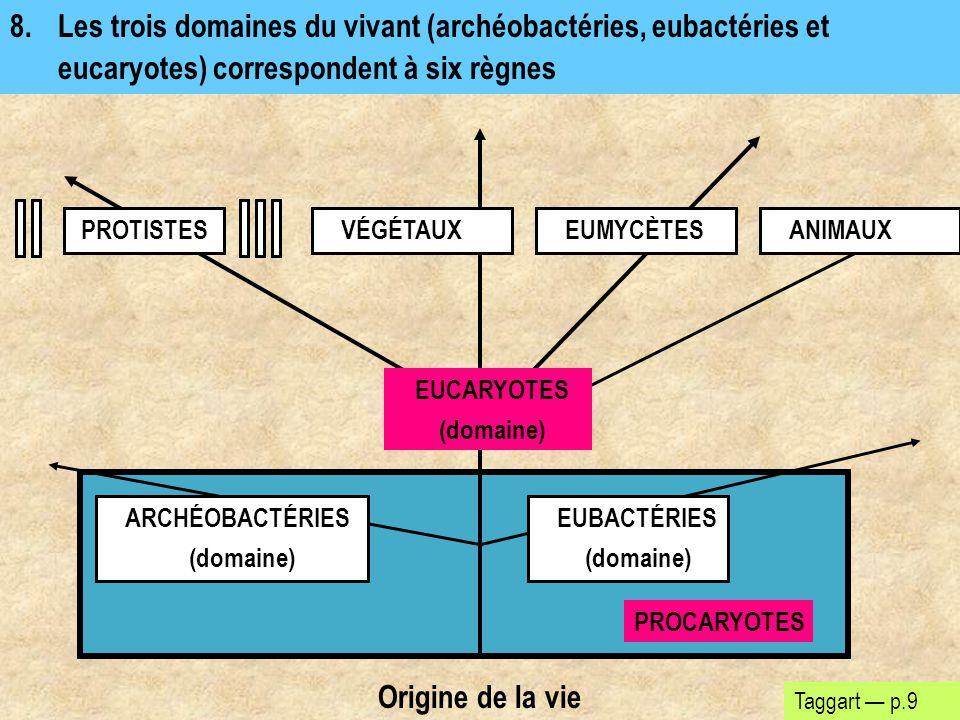 8. Les trois domaines du vivant (archéobactéries, eubactéries et eucaryotes) correspondent à six règnes