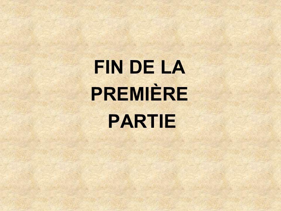 FIN DE LA PREMIÈRE PARTIE