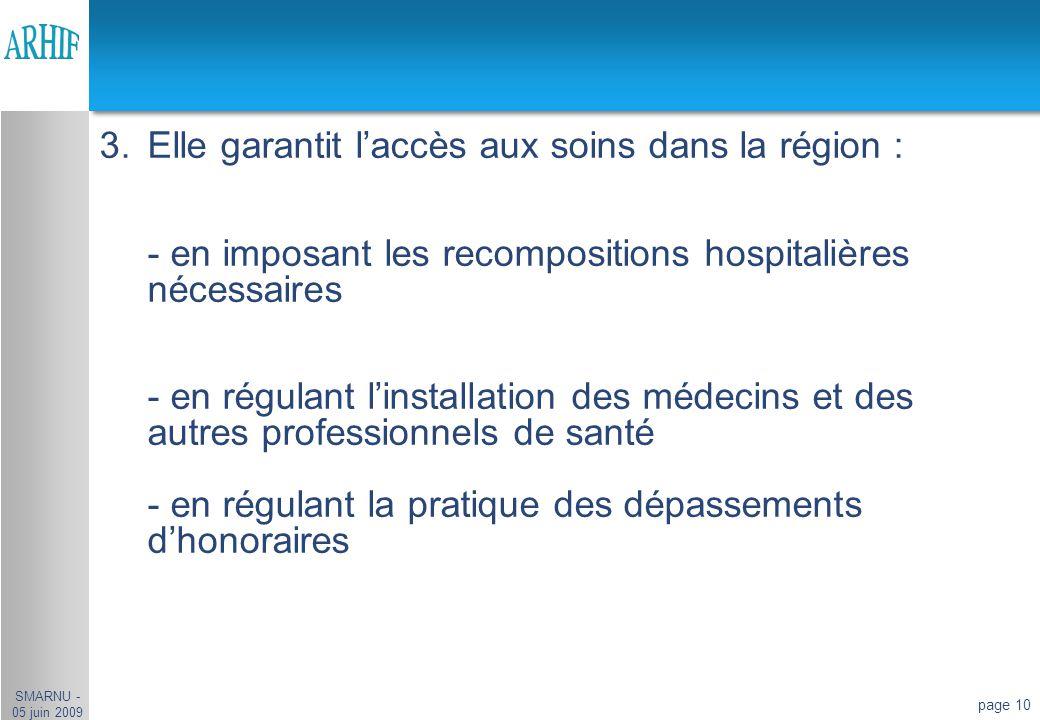 Elle garantit l'accès aux soins dans la région :