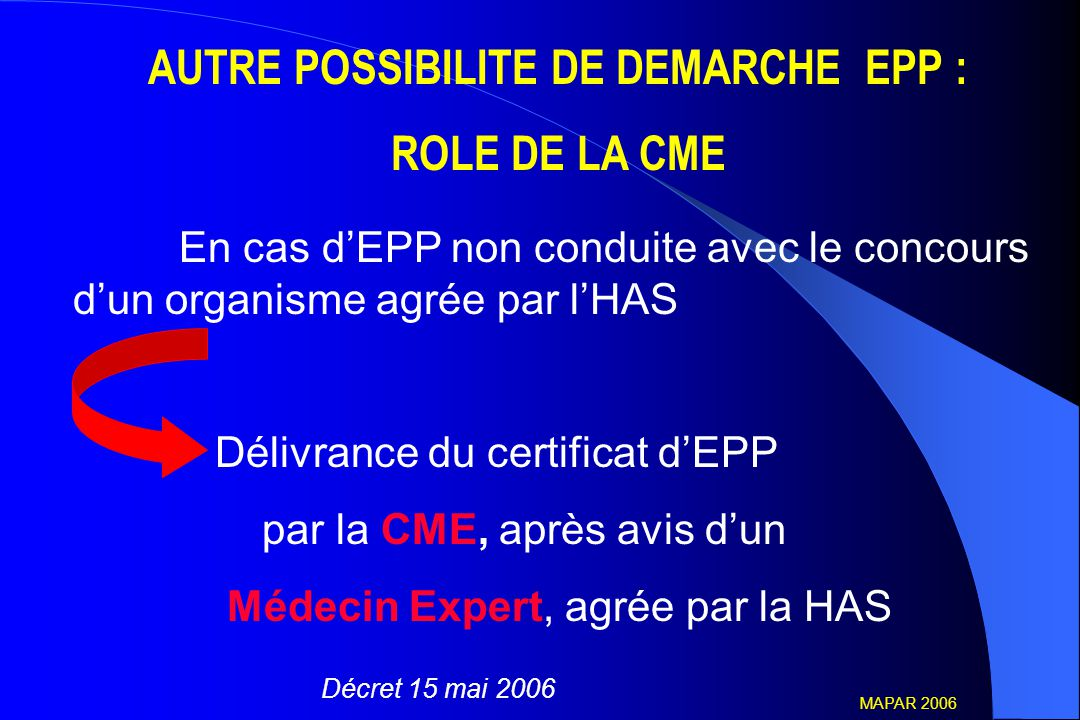 AUTRE POSSIBILITE DE DEMARCHE EPP :