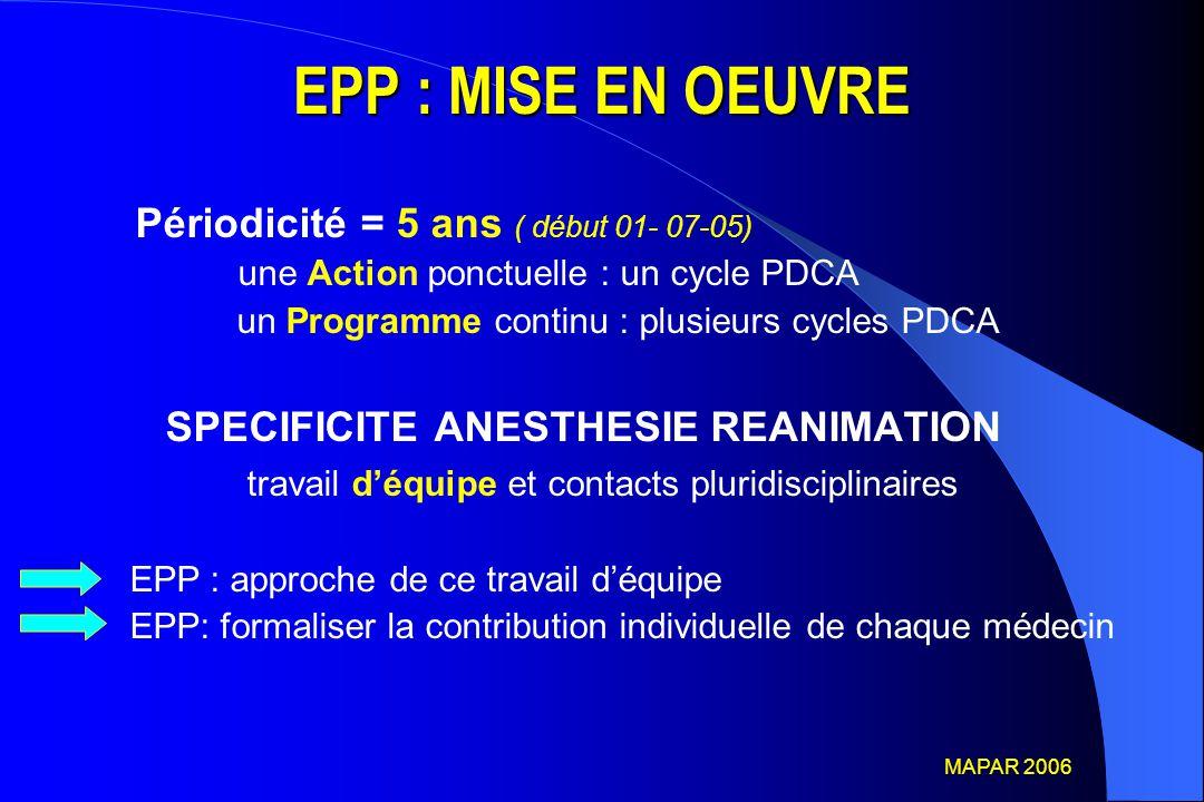 EPP : MISE EN OEUVRE Périodicité = 5 ans ( début 01- 07-05)