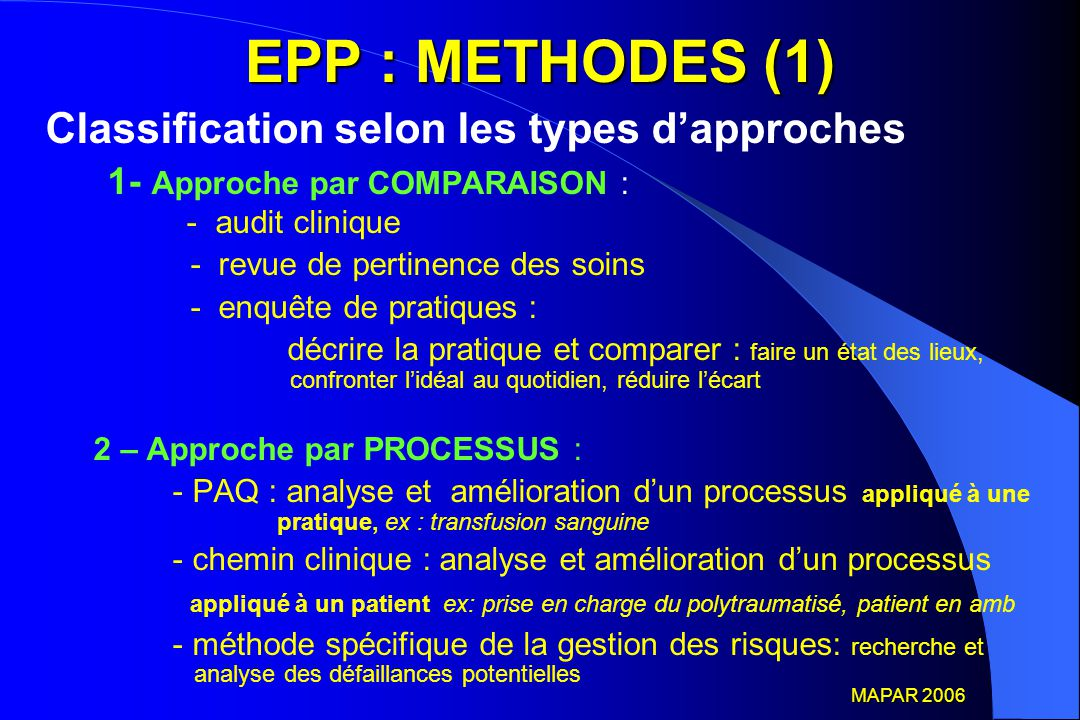 EPP : METHODES (1) Classification selon les types d'approches