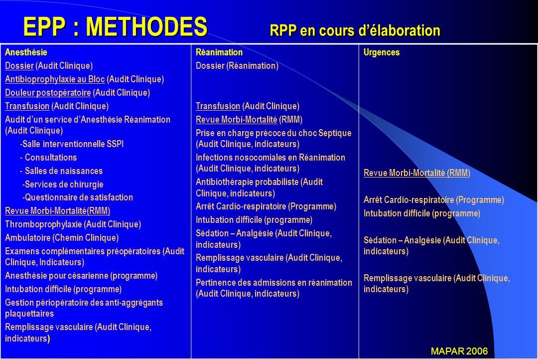 EPP : METHODES RPP en cours d'élaboration
