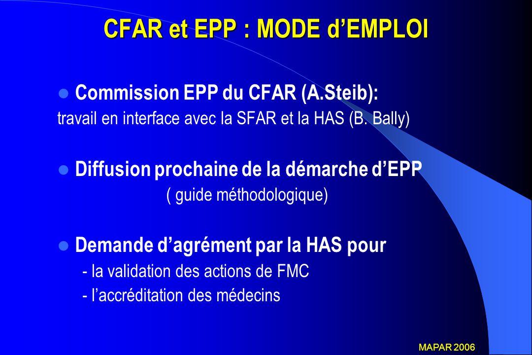 CFAR et EPP : MODE d'EMPLOI