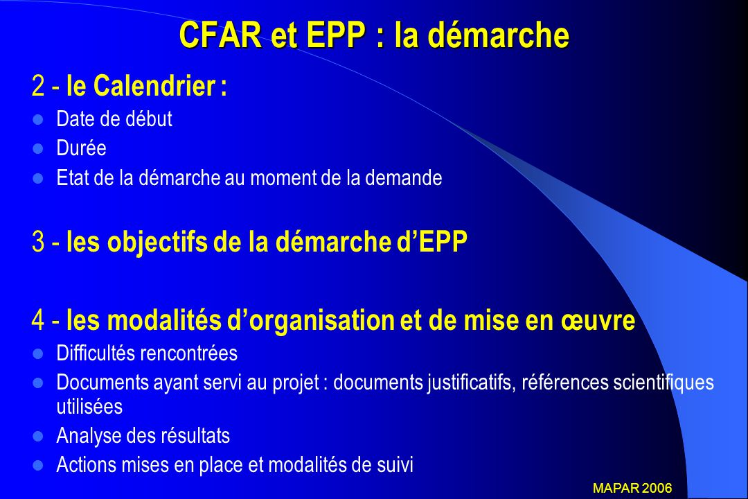 CFAR et EPP : la démarche