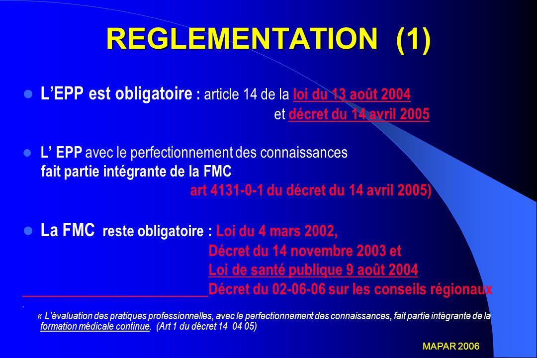 REGLEMENTATION (1) L'EPP est obligatoire : article 14 de la loi du 13 août 2004. et décret du 14 avril 2005.