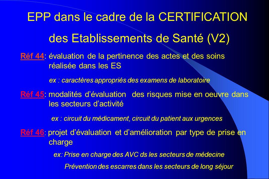 EPP dans le cadre de la CERTIFICATION des Etablissements de Santé (V2)