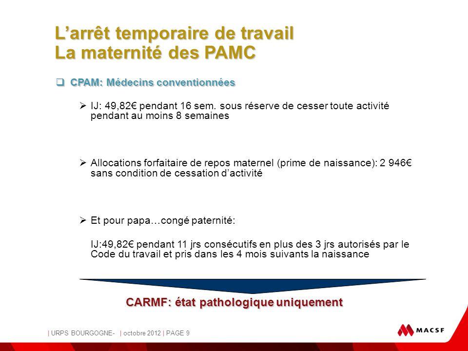 L'arrêt temporaire de travail La maternité des PAMC