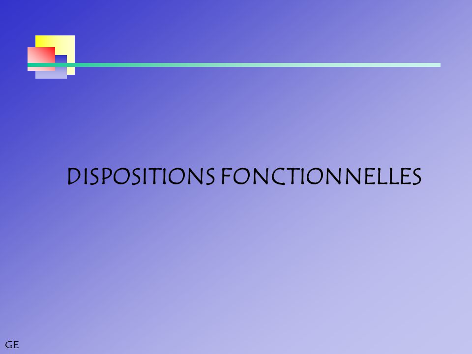 DISPOSITIONS FONCTIONNELLES