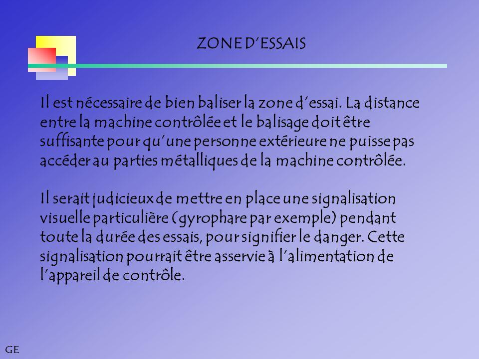 ZONE D'ESSAIS Il est nécessaire de bien baliser la zone d'essai. La distance. entre la machine contrôlée et le balisage doit être.