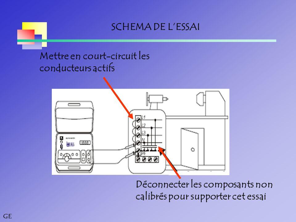 SCHEMA DE L'ESSAI Mettre en court-circuit les. conducteurs actifs. Déconnecter les composants non.