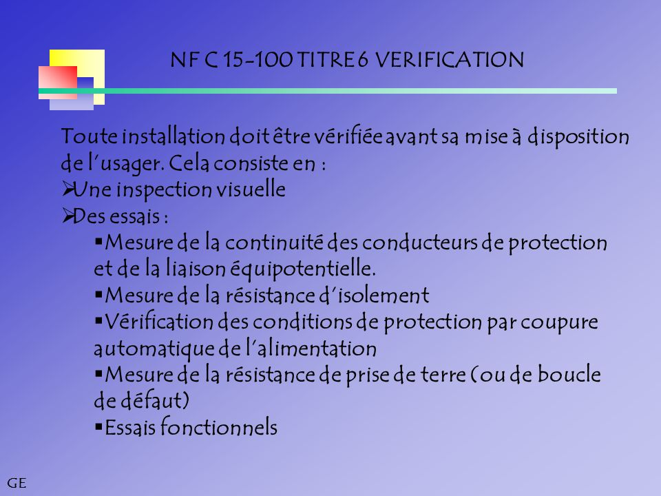 NF C 15-100 TITRE 6 VERIFICATION