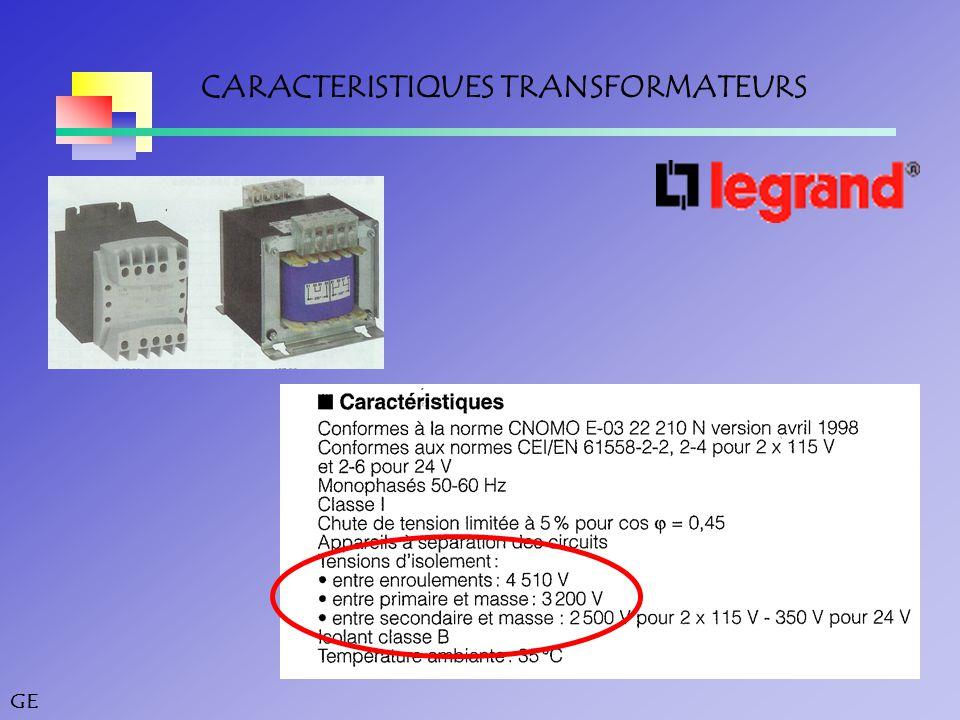 CARACTERISTIQUES TRANSFORMATEURS