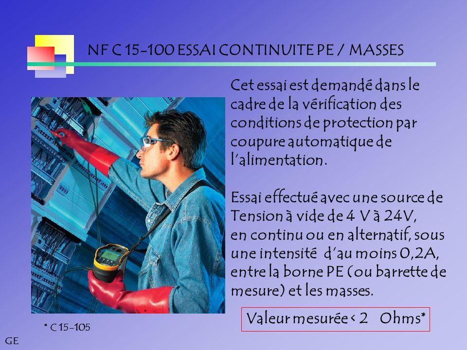 NF C 15-100 ESSAI CONTINUITE PE / MASSES