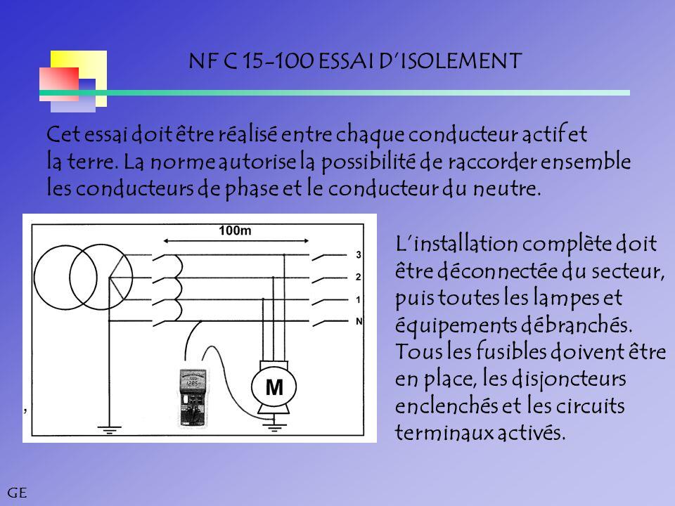 NF C 15-100 ESSAI D'ISOLEMENT