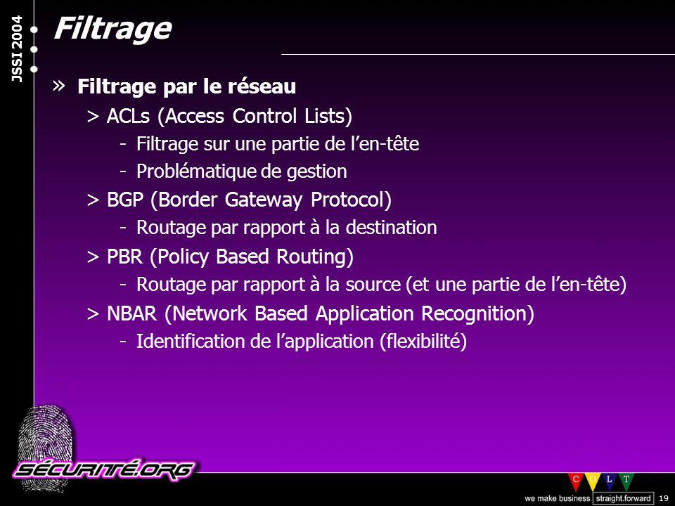 Filtrage Filtrage par le réseau ACLs (Access Control Lists)