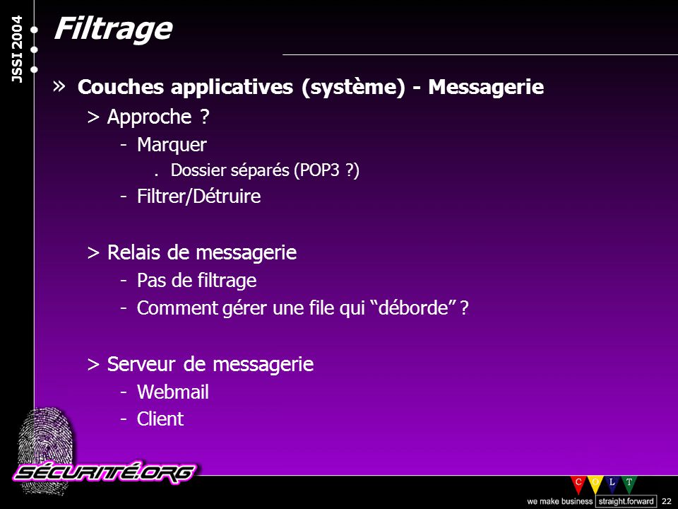 Filtrage Couches applicatives (système) - Messagerie Approche