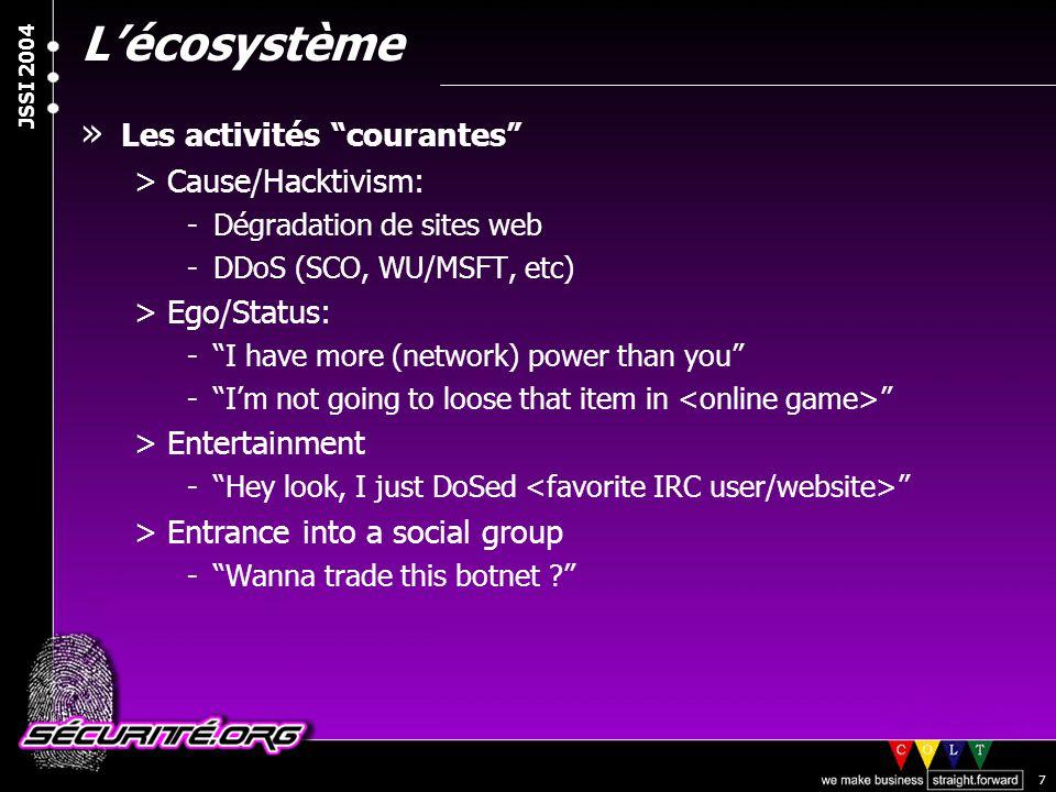 L'écosystème Les activités courantes Cause/Hacktivism: Ego/Status: