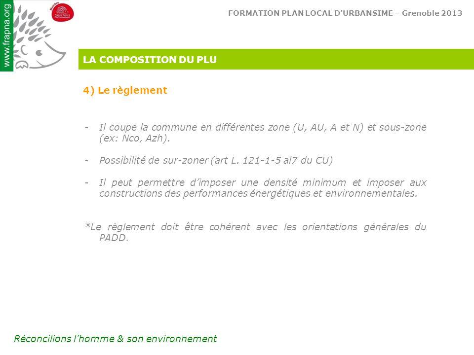 LA COMPOSITION DU PLU 4) Le règlement. Il coupe la commune en différentes zone (U, AU, A et N) et sous-zone (ex: Nco, Azh).