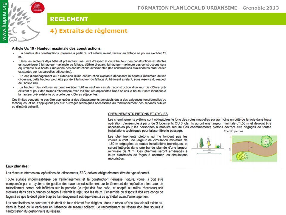 REGLEMENT 4) Extraits de règlement