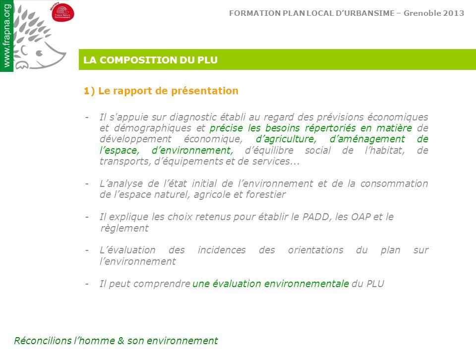 LA COMPOSITION DU PLU 1) Le rapport de présentation.