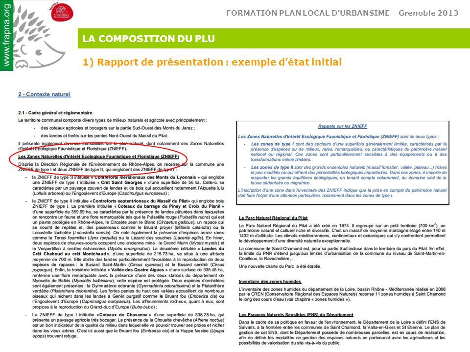 LA COMPOSITION DU PLU 1) Rapport de présentation : exemple d'état initial