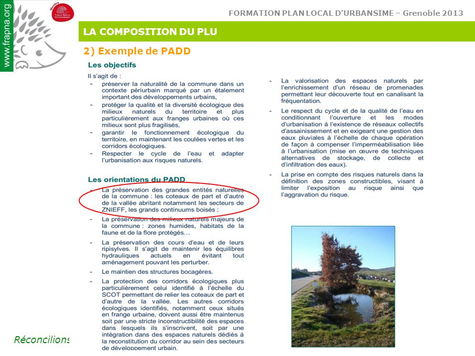 LA COMPOSITION DU PLU 2) Exemple de PADD