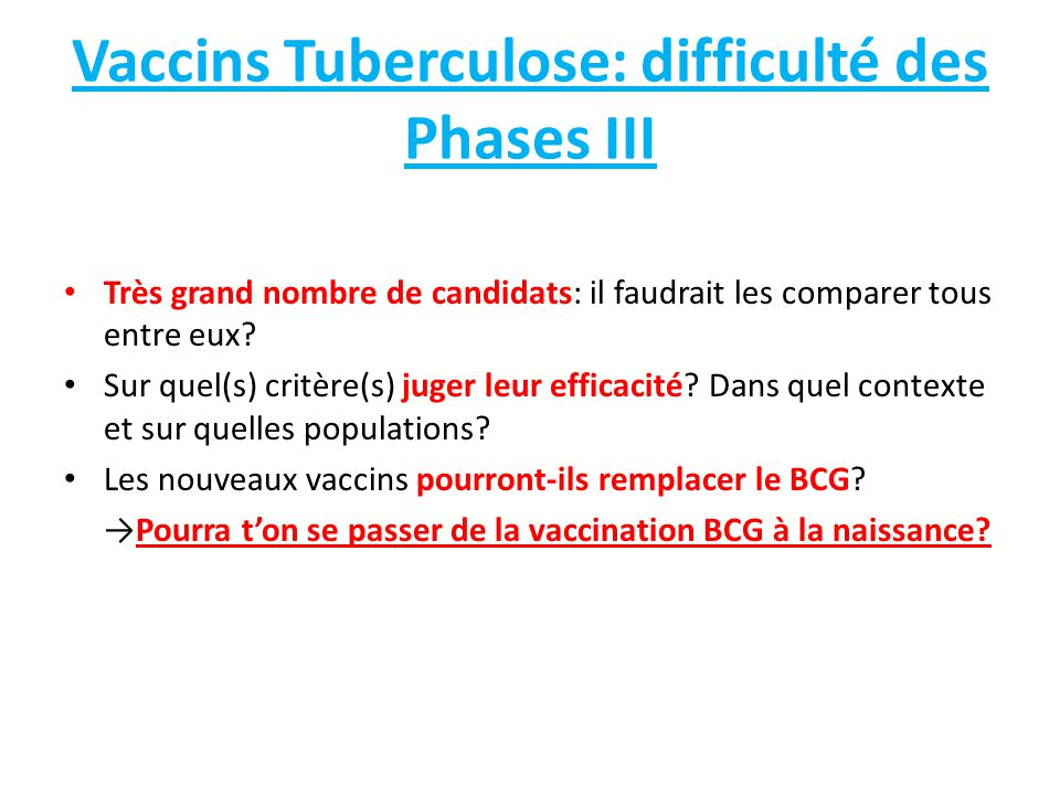 Vaccins Tuberculose: difficulté des Phases III