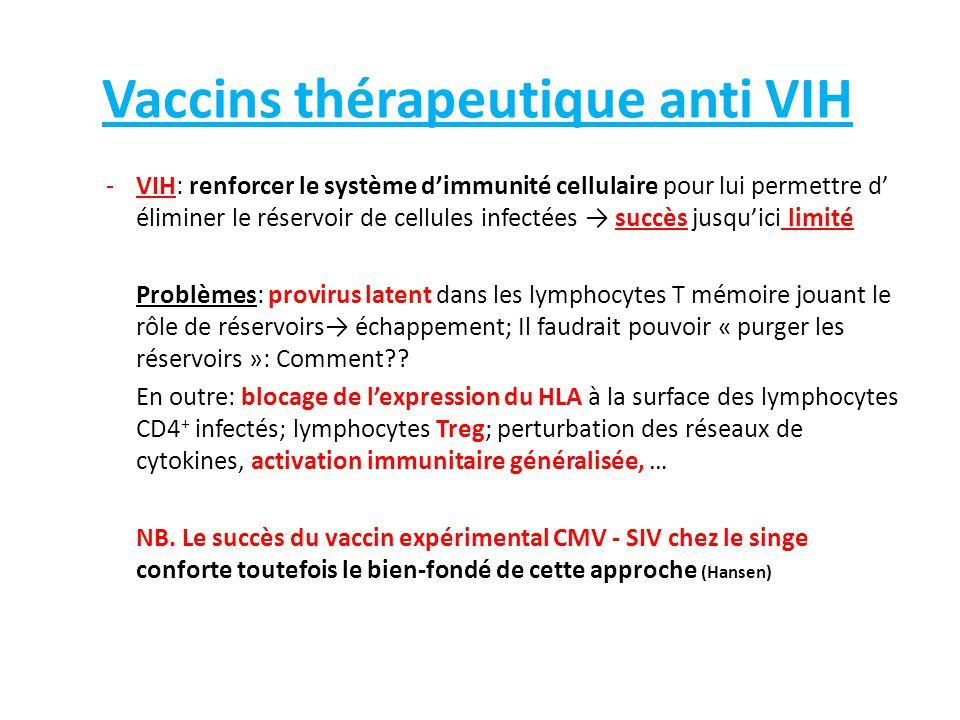 Vaccins thérapeutique anti VIH