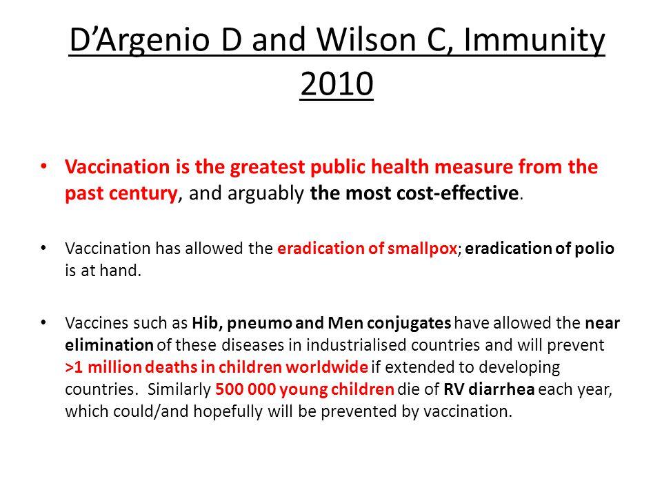 D'Argenio D and Wilson C, Immunity 2010