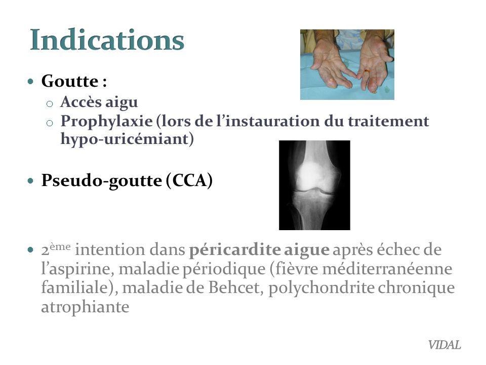 Indications Goutte : Pseudo-goutte (CCA)