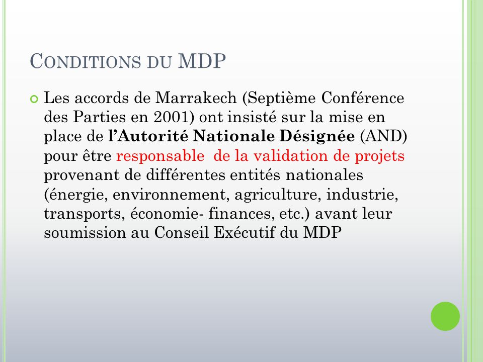 Conditions du MDP