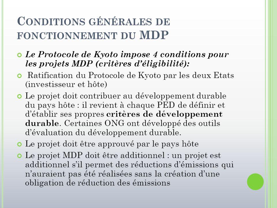Conditions générales de fonctionnement du MDP