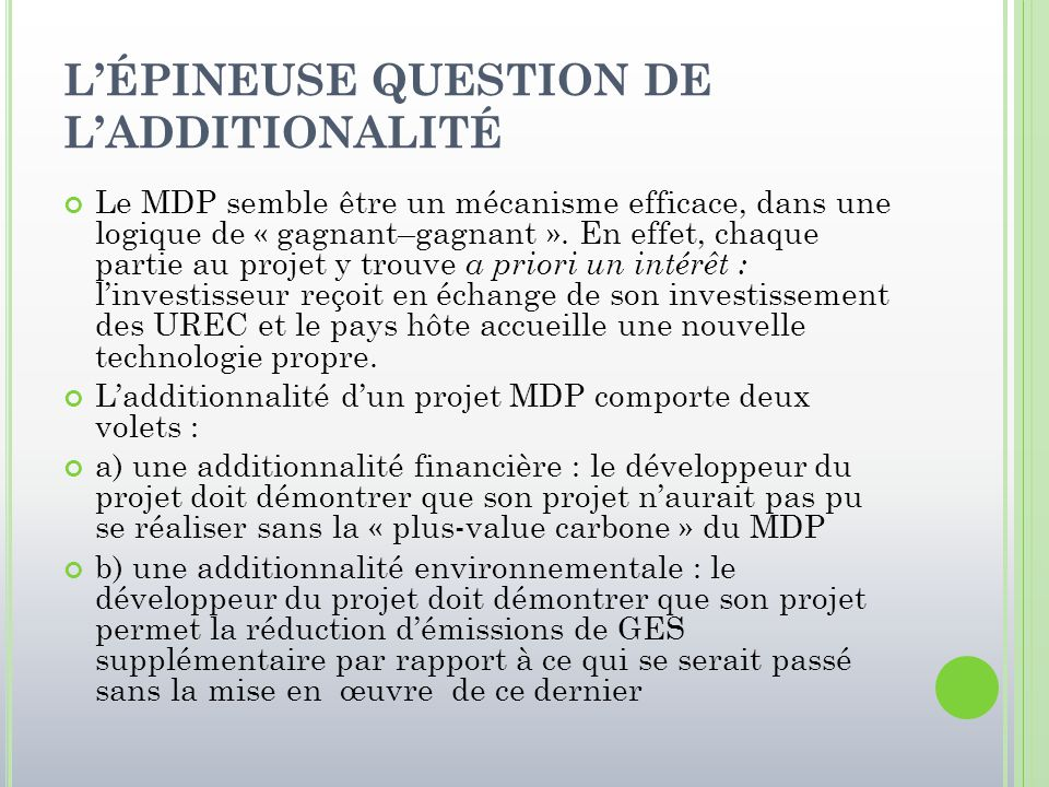 L'ÉPINEUSE QUESTION DE L'ADDITIONALITÉ