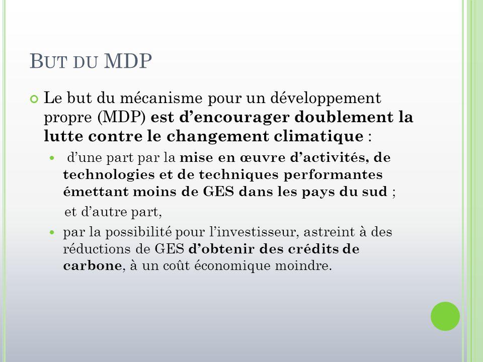 But du MDP Le but du mécanisme pour un développement propre (MDP) est d'encourager doublement la lutte contre le changement climatique :