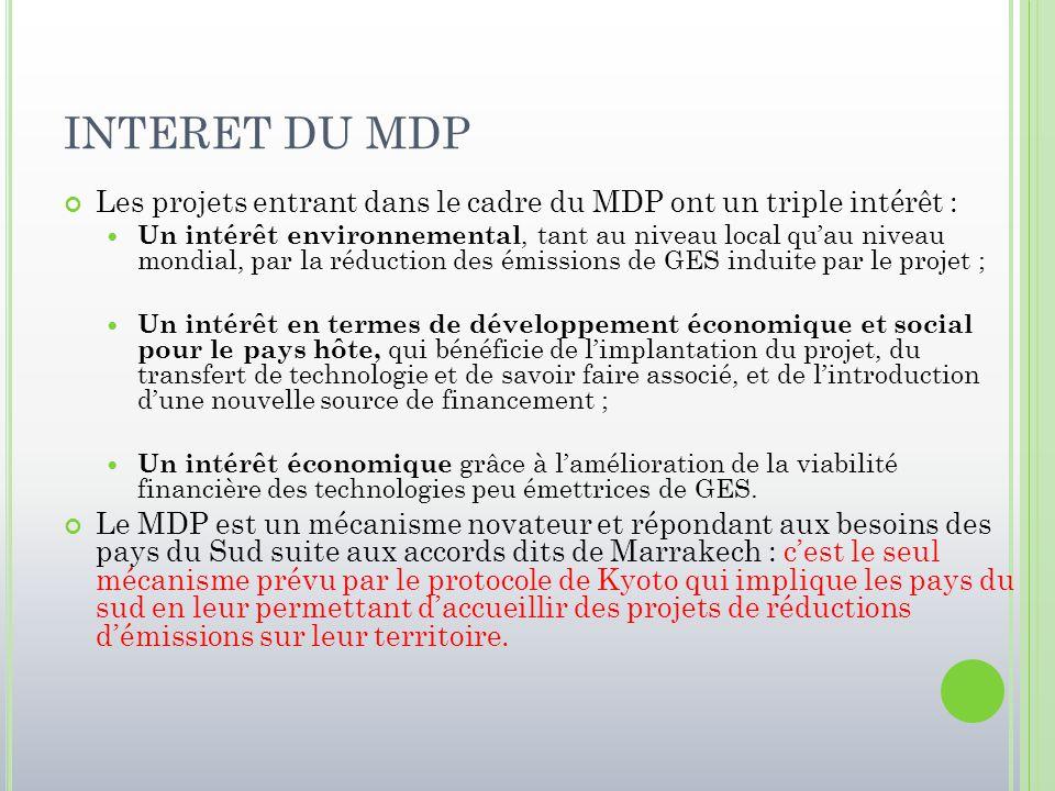INTERET DU MDP Les projets entrant dans le cadre du MDP ont un triple intérêt :