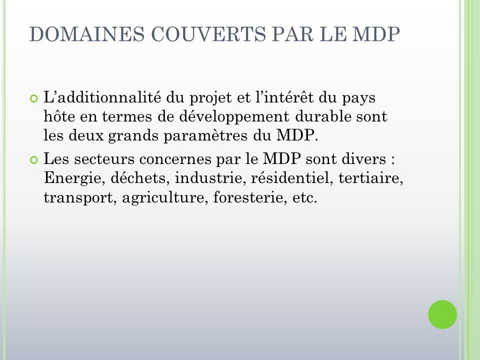DOMAINES COUVERTS PAR LE MDP