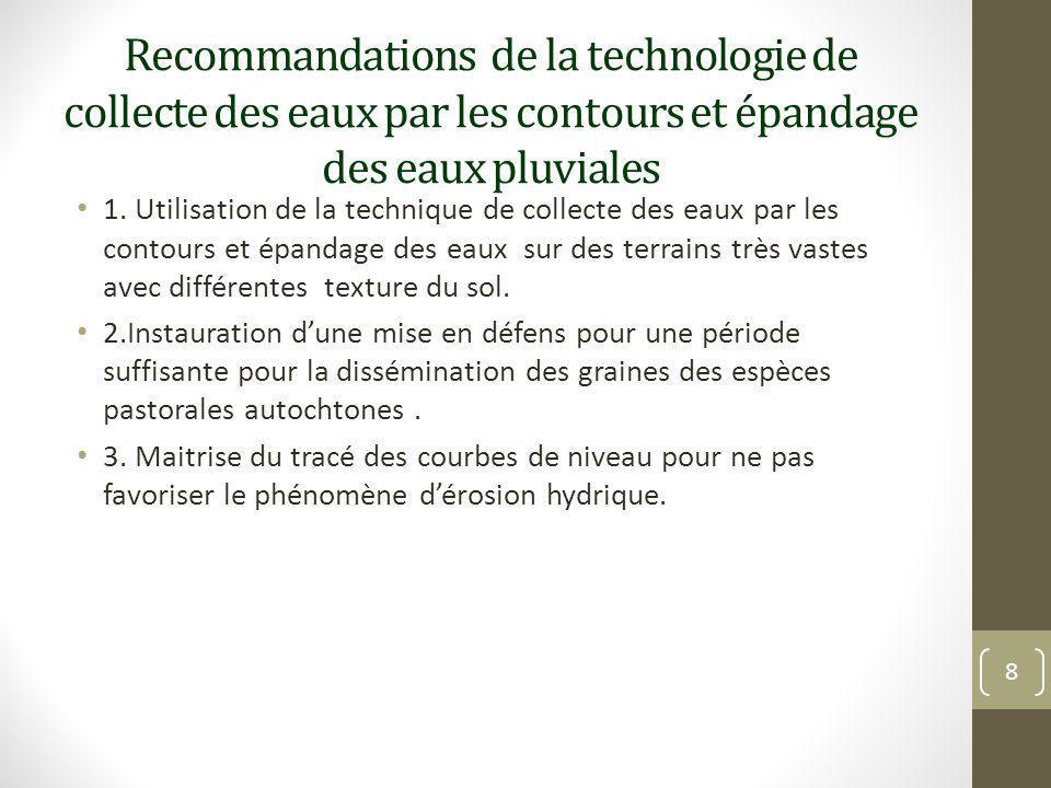 Recommandations de la technologie de collecte des eaux par les contours et épandage des eaux pluviales