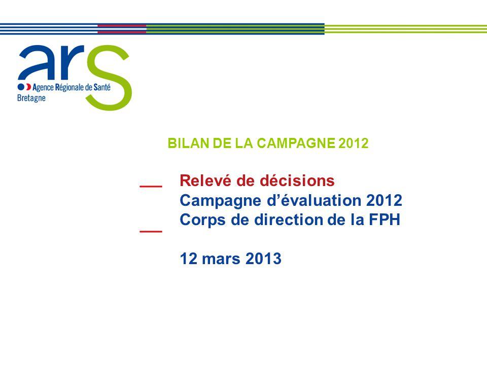 BILAN DE LA CAMPAGNE 2012 Relevé de décisions Campagne d'évaluation 2012 Corps de direction de la FPH 12 mars 2013.
